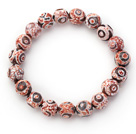 Wholesale 10mm Round Pink Pattern Fire Agate Stretch Beaded Bangle Bracelet
