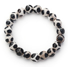 10mm Round White and Black Pattern Fire Agate Stretch Beaded Bangle Bracelet