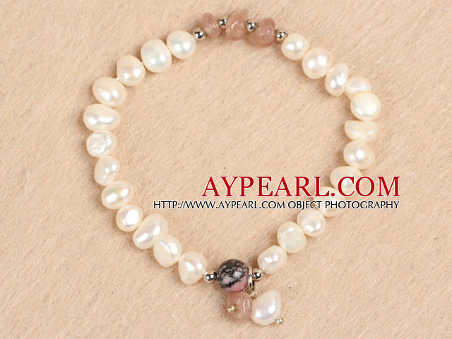 Simple Stretchy Style Natural White Freshwater Pearl Cherry Quartz Chips Elastic Bracelet