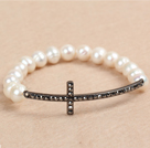 Hot Sale Natural White Freshwater Pearl Stretch Bracelet with Rhinestone Cross Charm