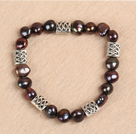 Simple Stretchy Style Natural Potato Shape Deep Coffee Pearl Elastic Bracelet
