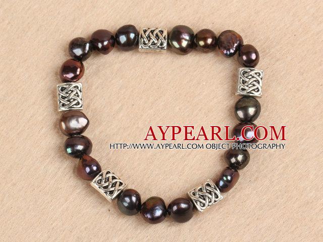 Simple Stretchy Style Natural Potato Shape Deep Coffee Pearl Elastic Bracelet