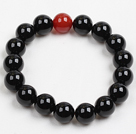 Wholesale Fashion 10Mm Black And Red Agate Beaded Elastic Bracelet