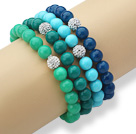 4 Pieces Round Seashell Beaded Stretch Bangle Bracelets with White Rhinestone Ball ( Random Color )