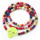 Assorted Round Dyed Multi Color Turquoise 4 Times Wrap Bangle Bracelet with Skull