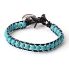 Popular Single Strand Faceted Blue Turquoise and Black Leather Bracelet with Hear Charm