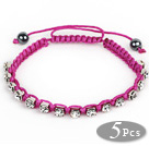 5 Pieces Purple Red Thread and White Square Shape Rhinestone and Hematite Woven Adjustable Drawstring Bracelets