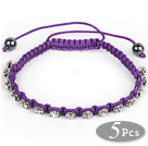 5 Pieces Purple Thread and White Square Shape Rhinestone and Hematite Woven Adjustable Drawstring Bracelets