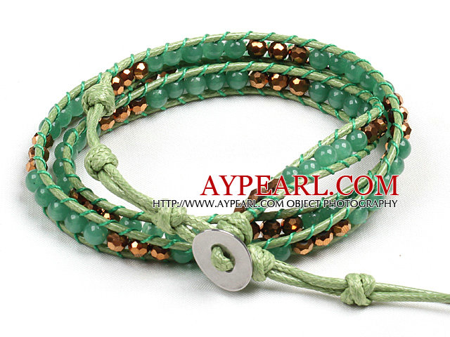 Fashion Style Green Aventurine Beads Three Times Wrap Bangle Bracelet