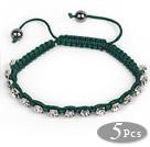 5 Pieces Dark Green Thread and White Square Shape Rhinestone and Hematite Woven Adjustable Drawstring Bracelets