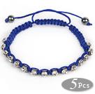 5 Pieces Dark Blue Thread and White Square Shape Rhinestone and Hematite Woven Adjustable Drawstring Bracelets