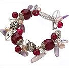 Vintage Style Red Agate Irregular Shape Pearl Crystal And Tibet Silver Accessory Bracelet With Toggle Clasp