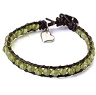 Wholesale Popular Single Strand Natural Round Peridot Beads and Brown Leather Bracelet with Hear Charm