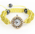 Fashion Style Lemon Yellow Rhinestone Ball Adjustable Drawstring Bracelet with Golden Color Watch