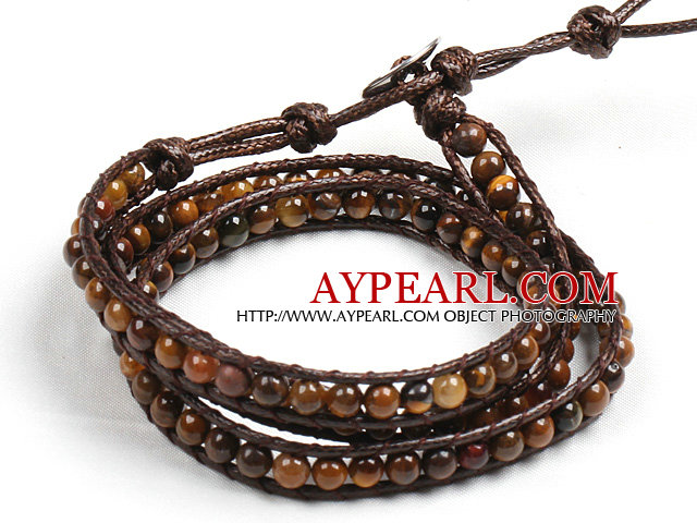 Fashion Style Tiger Eye Stone Beads Three Times Wrap Bangle Bracelet