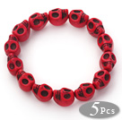 5 Pieces Dyed Red Turquoise Skull Stretch Bangle Bracelet ( Total 5 Pieces)