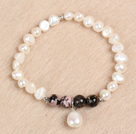 Simple Stretchy Style Natural White Freshwater Pearl Charm Elastic Bracelet