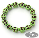 5 Pieces Dyed Green Turquoise Skull Stretch Bangle Bracelet ( Total 5 Pieces)