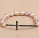 Hot Sale 7-8mm Natural Rice Pearl Stretch Bracelet with Rhinestone Cross Charm