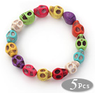 5 Pieces Dyed Multi Color Turquoise Skull Stretch Bangle Bracelet ( Total 5 Pieces)