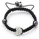 Fashion Style Heart Shape White with Colorful Rhinestone and Hematite and Black Thread Woven Adjustable Drawstring Bracelet