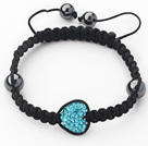 Fashion Style Heart Shape Lake Blue Rhinestone and Hematite and Black Thread Woven Adjustable Drawstring Bracelet