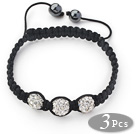 3 Pieces Round White Rhinestone Ball and Hematite and Black Thread Woven Adjustable Drawstring Bracelets ( Total 3 Pieces Bracelets)