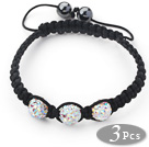 3 Pieces Round White with Colorful Rhinestone Ball and Hematite and Black Thread Woven Adjustable Drawstring Bracelets ( Total 3 Pieces Bracelets)