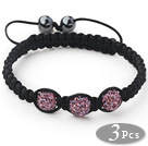 3 Pieces Round Violet Purple Rhinestone Ball and Hematite and Black Thread Woven Adjustable Drawstring Bracelets ( Total 3 Pieces Bracelets)