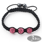 3 Pieces Round Hot Pink Rhinestone Ball and Hematite and Black Thread Woven Adjustable Drawstring Bracelets ( Total 3 Pieces Bracelets)