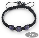 3 Pieces Round Purple Rhinestone Ball and Hematite and Black Thread Woven Adjustable Drawstring Bracelets ( Total 3 Pieces Bracelets)