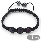 3 Pieces Round Dark Purple Rhinestone Ball and Hematite and Black Thread Woven Adjustable Drawstring Bracelets ( Total 3 Pieces Bracelets)