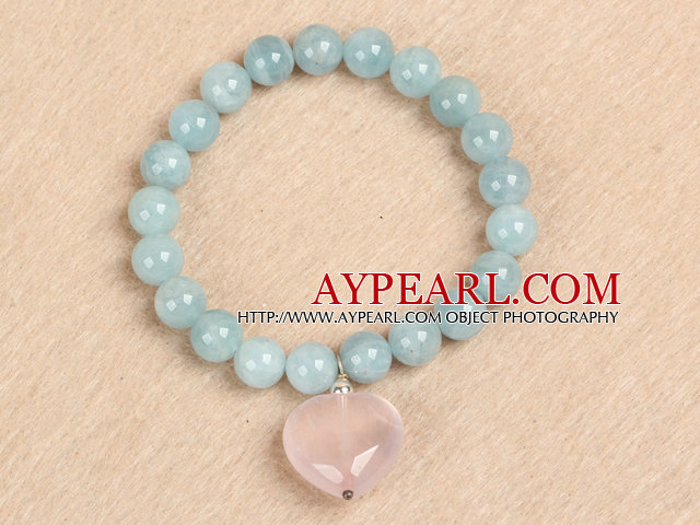 Simplu de moda rotunde Natural Aquamarine margele Heart Shape Rose Quartz farmecul brățară elastice