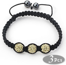 3 Pieces Round Golden Champagne Rhinestone Ball and Hematite and Black Thread Woven Adjustable Drawstring Bracelets ( Total 3 Pieces Bracelets)