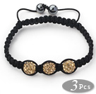 3 Pieces Round Yellow Brown Rhinestone Ball and Hematite and Black Thread Woven Adjustable Drawstring Bracelets ( Total 3 Pieces Bracelets)