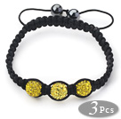 3 Pieces Round Bright Yellow Rhinestone Ball and Hematite and Black Thread Woven Adjustable Drawstring Bracelets ( Total 3 Pieces Bracelets)