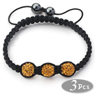 3 Pieces Round Dark Yellow Rhinestone Ball and Hematite and Black Thread Woven Adjustable Drawstring Bracelets ( Total 3 Pieces Bracelets)