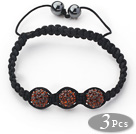 3 Pieces Round Reddish Brown Rhinestone Ball and Hematite and Black Thread Woven Adjustable Drawstring Bracelets ( Total 3 Pieces Bracelets)