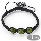 3 Pieces Round Forest Green Rhinestone Ball and Hematite and Black Thread Woven Adjustable Drawstring Bracelets ( Total 3 Pieces Bracelets)