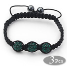 3 Pieces Round Dark Green Rhinestone Ball and Hematite and Black Thread Woven Adjustable Drawstring Bracelets ( Total 3 Pieces Bracelets)