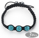 3 Pieces Round Lake Blue Rhinestone Ball and Hematite and Black Thread Woven Adjustable Drawstring Bracelets ( Total 3 Pieces Bracelets)