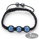 3 Pieces Round Sky Blue Rhinestone Ball and Hematite and Black Thread Woven Adjustable Drawstring Bracelets ( Total 3 Pieces Bracelets)