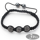3 Pieces Round Dark Gray Rhinestone Ball and Hematite and Black Thread Woven Adjustable Drawstring Bracelets ( Total 3 Pieces Bracelets)