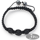 3 Pieces Round Black Rhinestone Ball and Hematite and Black Thread Woven Adjustable Drawstring Bracelets ( Total 3 Pieces Bracelets)