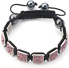 Square Shape Pink Color Rhinestone Sheet and Hematite and Black Thread Woven Adjustable Drawstring Bracelet