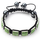 Square Shape Apple Green Color Rhinestone Sheet and Hematite and Black Thread Woven Adjustable Drawstring Bracelet