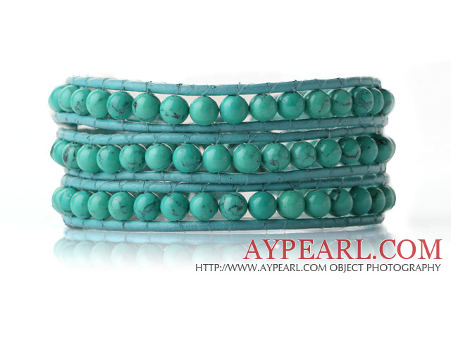 Newly Trendy Design Three Strands Round Blue Turquoise Beads Leather Bracelet