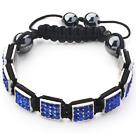 Square Shape Dark Blue Color Rhinestone Sheet and Hematite and Black Thread Woven Adjustable Drawstring Bracelet
