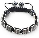 Square Shape Steel Color Rhinestone Sheet and Hematite and Black Thread Woven Adjustable Drawstring Bracelet