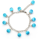 Wholesale Single Strand Sky Blue Cats Eye Bracelet with Metal Extendable Chain